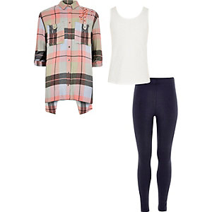 Girls pink check shirt, vest and leggings set