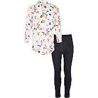 Girls cream print shirt and leggings set