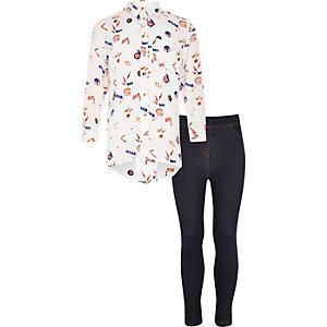 Ensemble avec legging et chemise imprimée crème pour fille