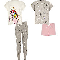 Girls white print pajama set multipack