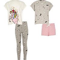 Girls white print pajama set multipack