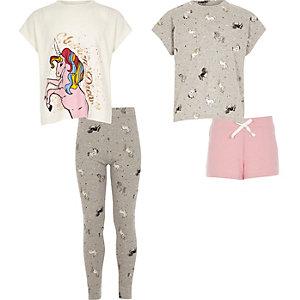 Girls white print pyjama set multipack