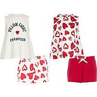 Girls pink heart print pajama set multipack