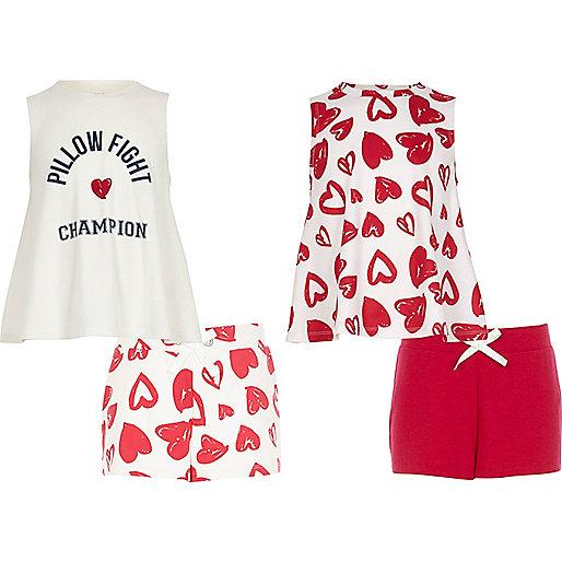 Girls pink heart print pyjama set multipack