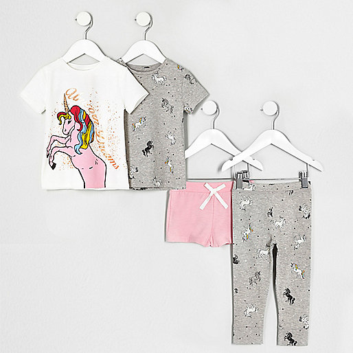 Mini girls white print pajama set multipack