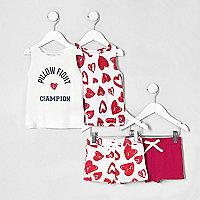 Mini girls pink print pajama set multipack