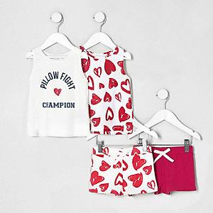 Lot de pyjamas imprimé rose pour mini fille