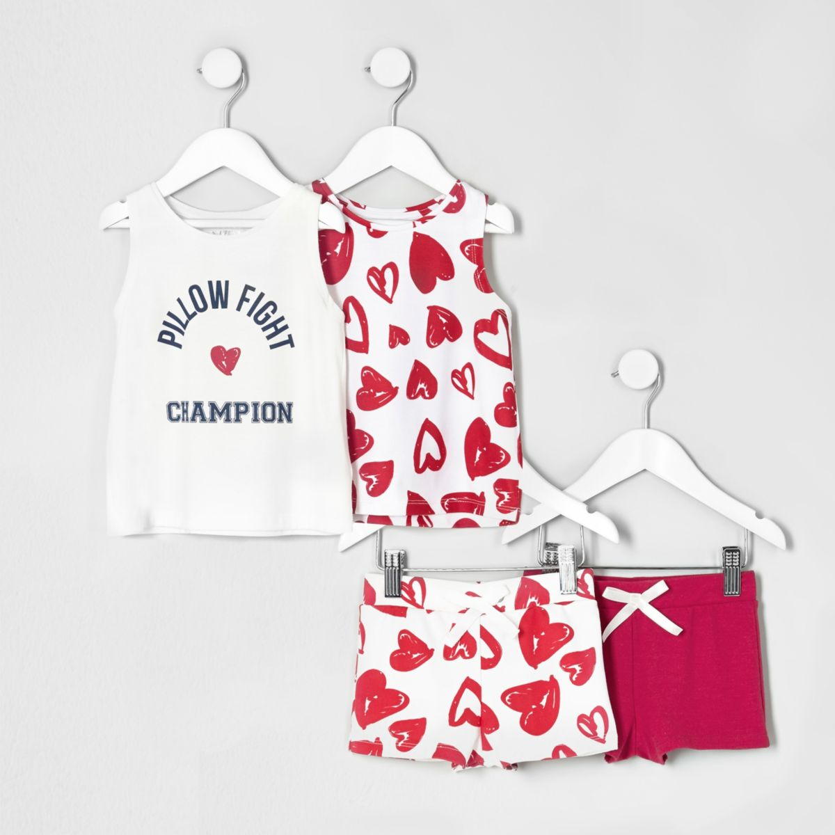 Mini girls pink print pyjama set multipack
