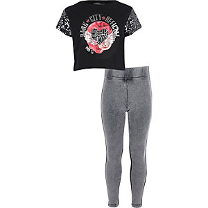 Girls black band T-shirt and leggings outit