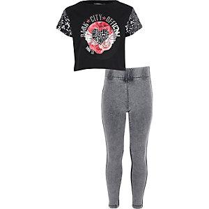 Girls black band T-shirt and leggings outit