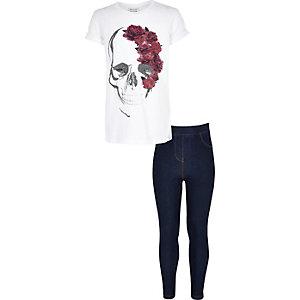 Ensemble leggings et T-shirt blanc à imprimé tête de mort pour fille