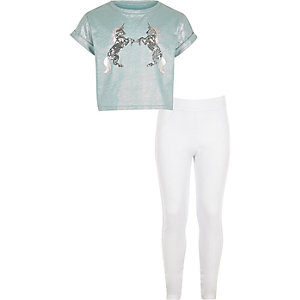 Girls blue sequin unicorn top and leggings
