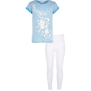 Girls blue print T-shirt and leggings outfit