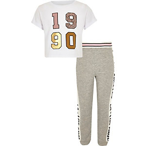 Girls white '1990' crop top and jogger set