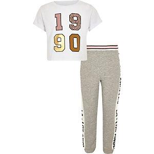 Ensemble crop top et pantalon de jogging imprimé «1990» pour fille