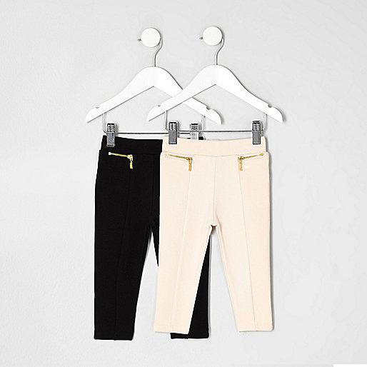 Mini girls black and pink ponte leggings pack