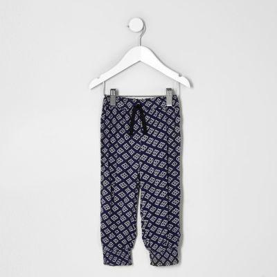 Mini Blauwe joggingbroek met geoprint voor meisjes