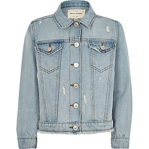 Girls blue bleach ripped denim jacket