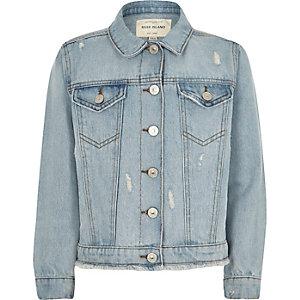 Veste en jean bleue déchirée pour fille