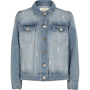 Girls blue distressed fade denim jacket