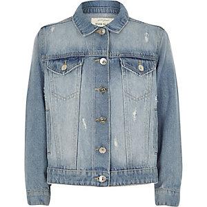 Girls blue distressed fade denim jacket