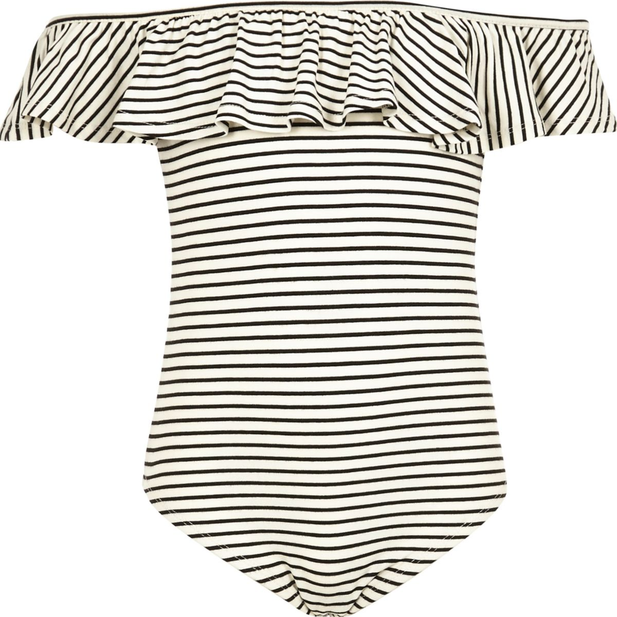 Girls black stripe ruffle bardot bodysuit