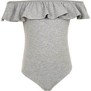 Grey marl ruffle bardot bodysuit