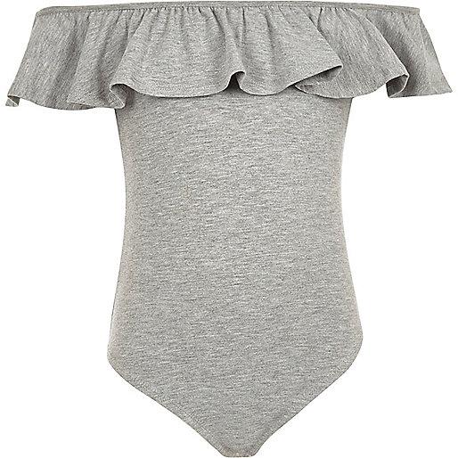 Girls grey marl ruffle bardot bodysuit
