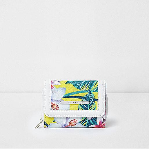Girls yellow tropical print small purse