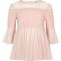 Girls light pink mesh pleated smock top