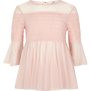 Girls light pink mesh pleated smock top