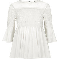 Girls white mesh pleated smock top
