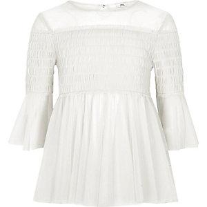 Girls white mesh pleated smock top