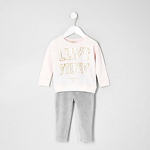 Ensemble avec sweat imprimé « love » rose mini fille