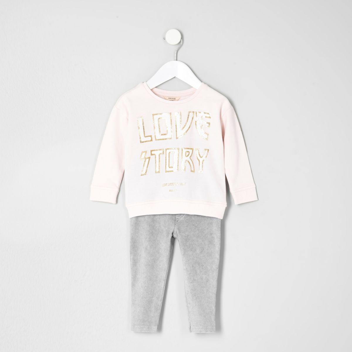 Mini - Outfit met roze 'love' sweatshirt voor meisjes