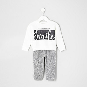 Mini girls white 'smile' sweatshirt outfit