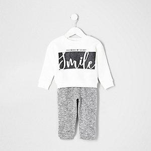 Mini - Outfit met wit 'smile' sweatshirt voor meisjes
