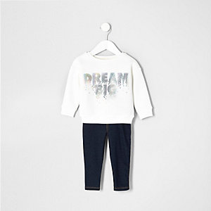 Mini girls white 'dream' sweatshirt outfit