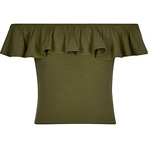 Girls khaki green bardot ruffle top