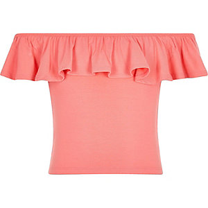 Girls coral pink bardot ruffle top