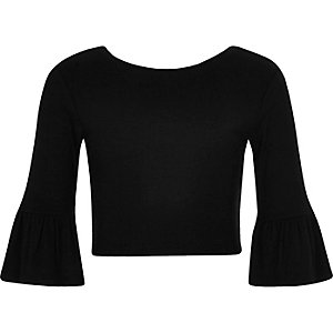 Girls black frill sleeve fitted top