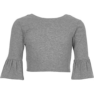 Girls grey frill sleeve fitted top