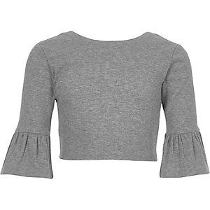 Haut ajusté gris avec manches à volants pour fille