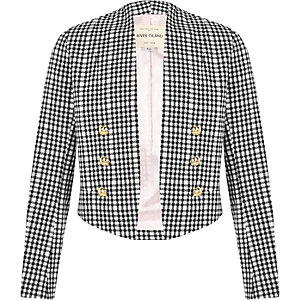 Girls gingham military blazer