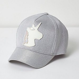 Girls silver glitter unicorn cap