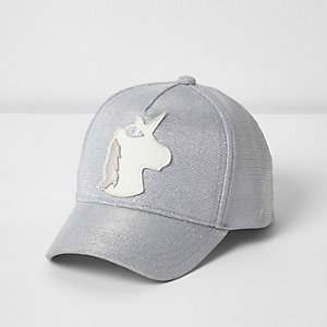 Mini girls silver glitter unicorn cap