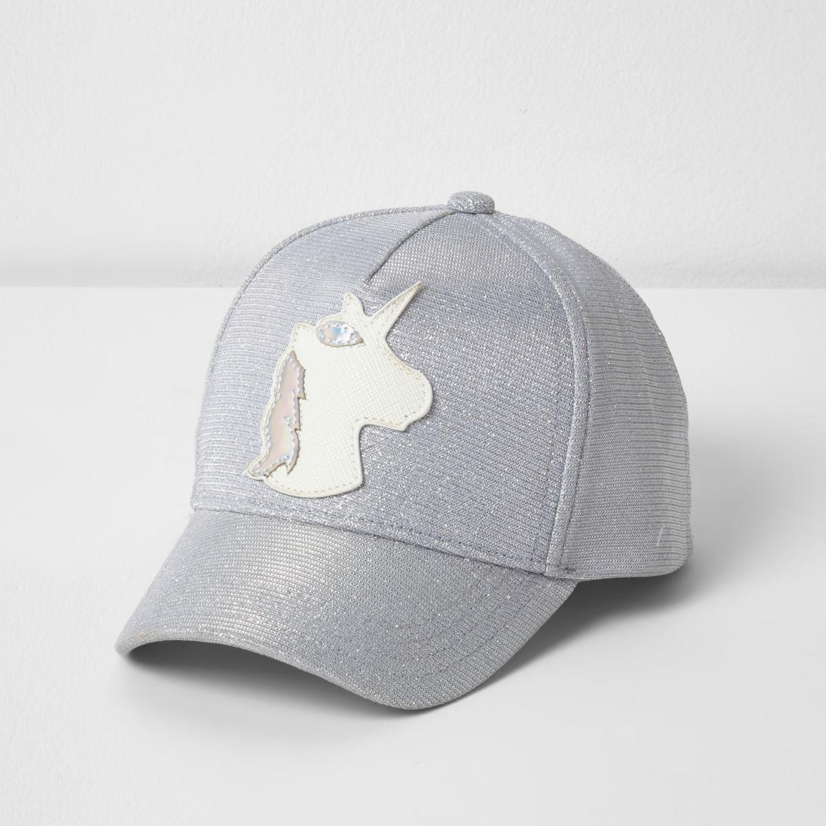 Mini girls silver glitter unicorn cap