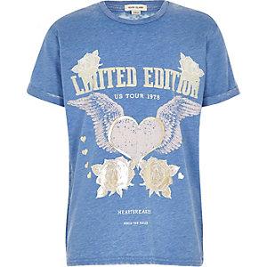 Girls blue burnout band print T-shirt