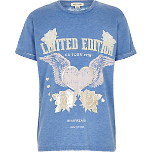 Girls blue burnout band print T-shirt