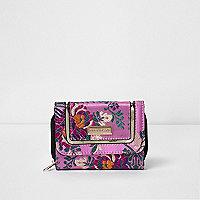 Girls pink floral jacquard purse